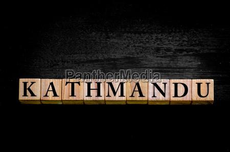 word kathmandu isolated on black background
