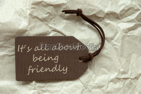 brown label with quote about being