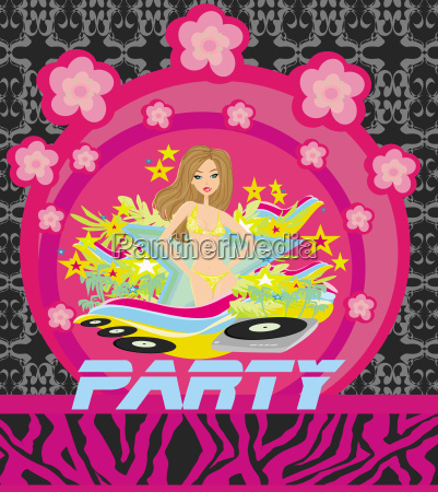 vector party girl background for design