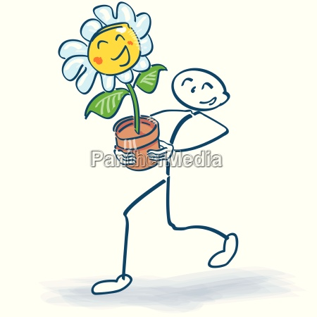 stick figure with a flower in