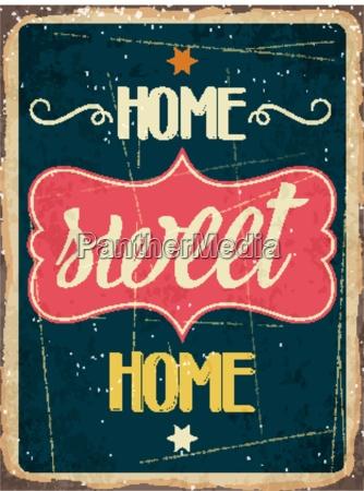 retro metal sign home sweet
