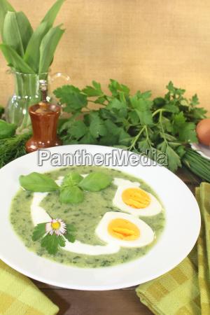 frische kraeutersuppe mit eiern