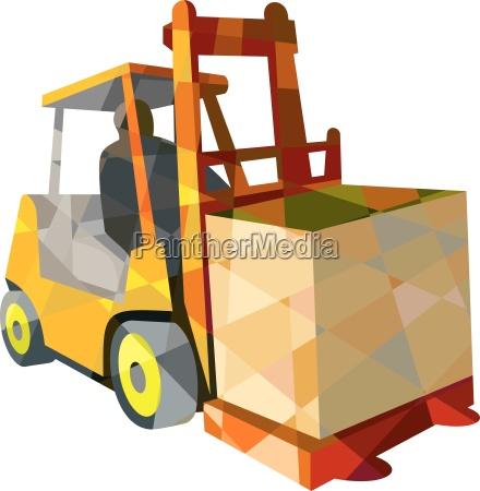 gabelstapler materialtransport box low polygon
