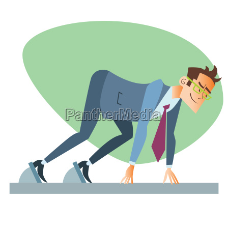 businessman start treadmill business sports competition