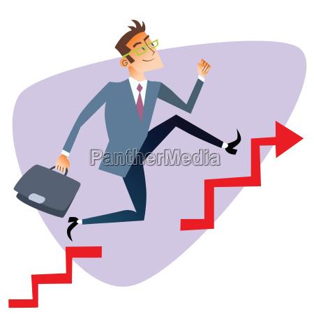 businessman running up through gaps in