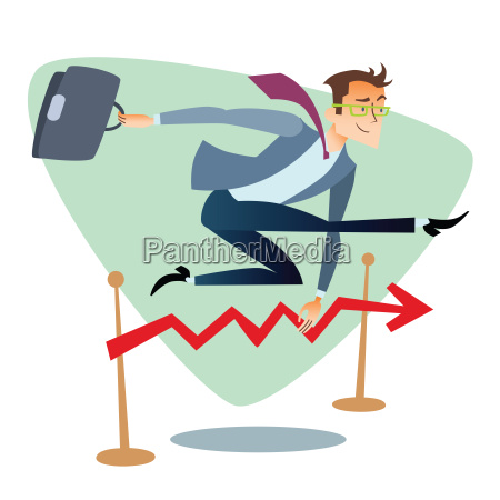 businessman running and jumping over barriers