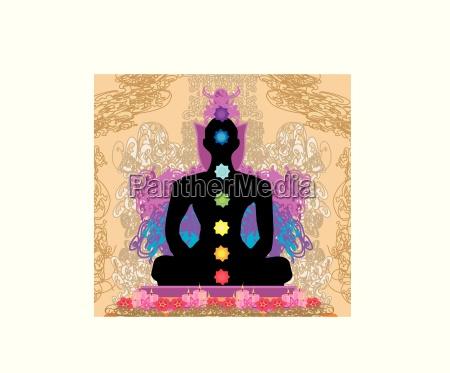 yoga lotus pose padmasana mit chakren
