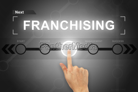 hand clicking franchising button on a