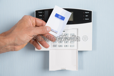 person using security card