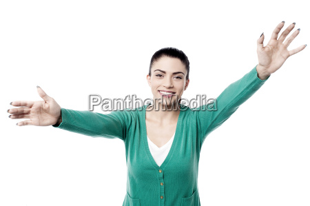 pretty woman with wide open arms
