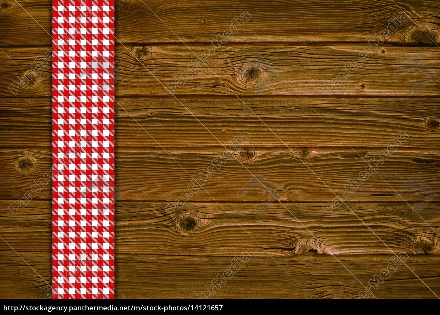 holzhintergrund, mit, rot, weisser, tischdecke - 14121657