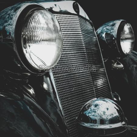 old retro or vintage car front