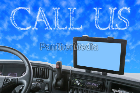 dashboard of the truck with call