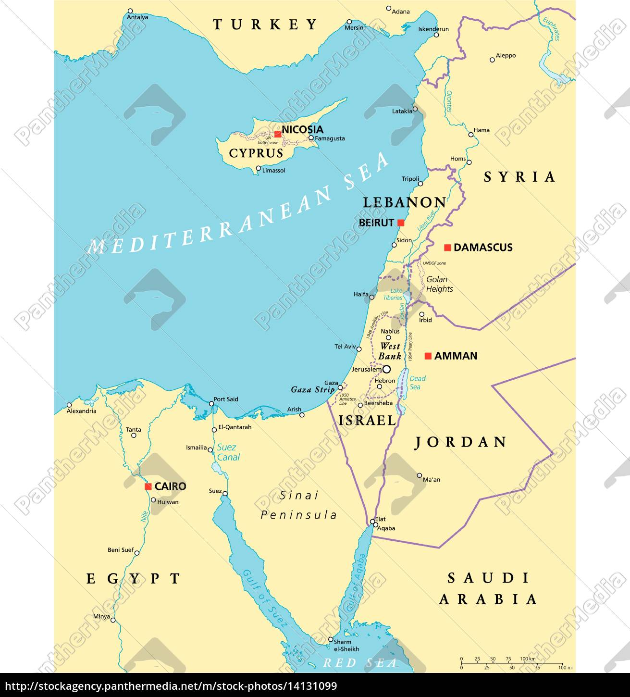 Ostliches Mittelmeer Politische Karte Lizenzfreies Bild