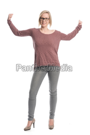 young woman with glasses showing strength