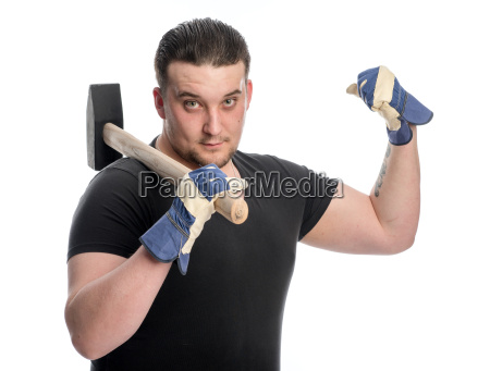 strong man with sledgehammer