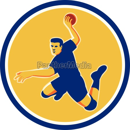 handball spieler striking kreis retro