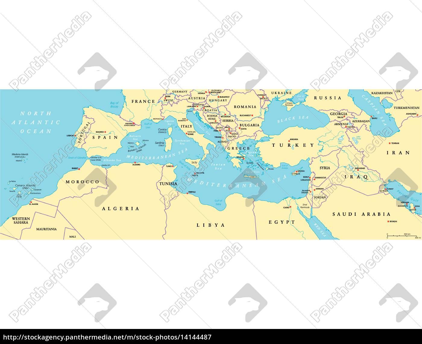 Mittelmeer Karte.Lizenzfreie Vektorgrafik 14144487 Mittelmeerraum Politische Karte