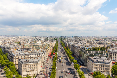 champs elysees avenue blick vom arc