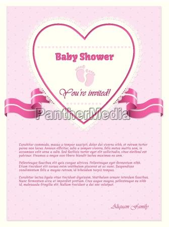 rosa babypartyeinladung mit text