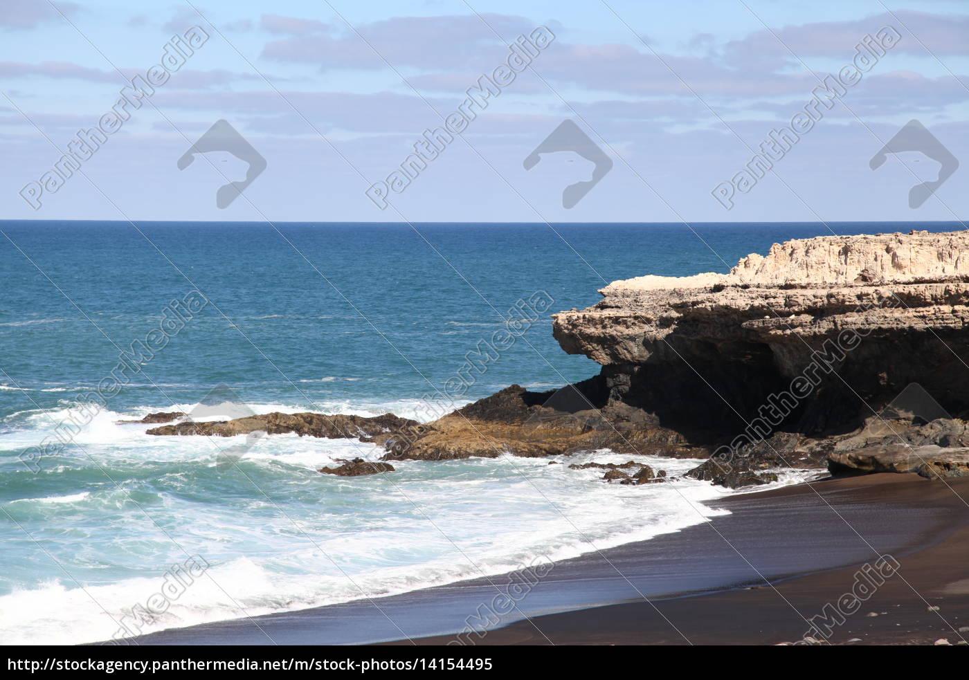 Fuerteventura, Kanarischen Inseln, Kanaren, Schwarzer Strand, Schwarzer Sand, Atlantischen Ozean - 14154495