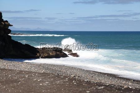 Fuerteventura, Kanarischen Inseln, Kanaren, Schwarzer Strand, Schwarzer Sand, Atlantischen Ozean - 14154503