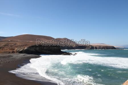 Fuerteventura, Kanarischen Inseln, Kanaren, Schwarzer Strand, Schwarzer Sand, Atlantischen Ozean - 14156083