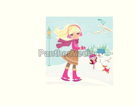 maedchen spielen in einem wintertag