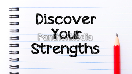 discover your strengths text written on