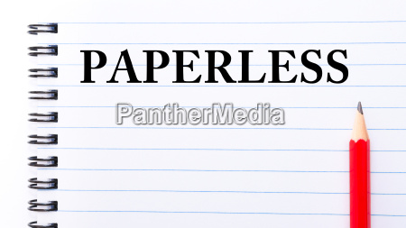paperless text written on notebook page
