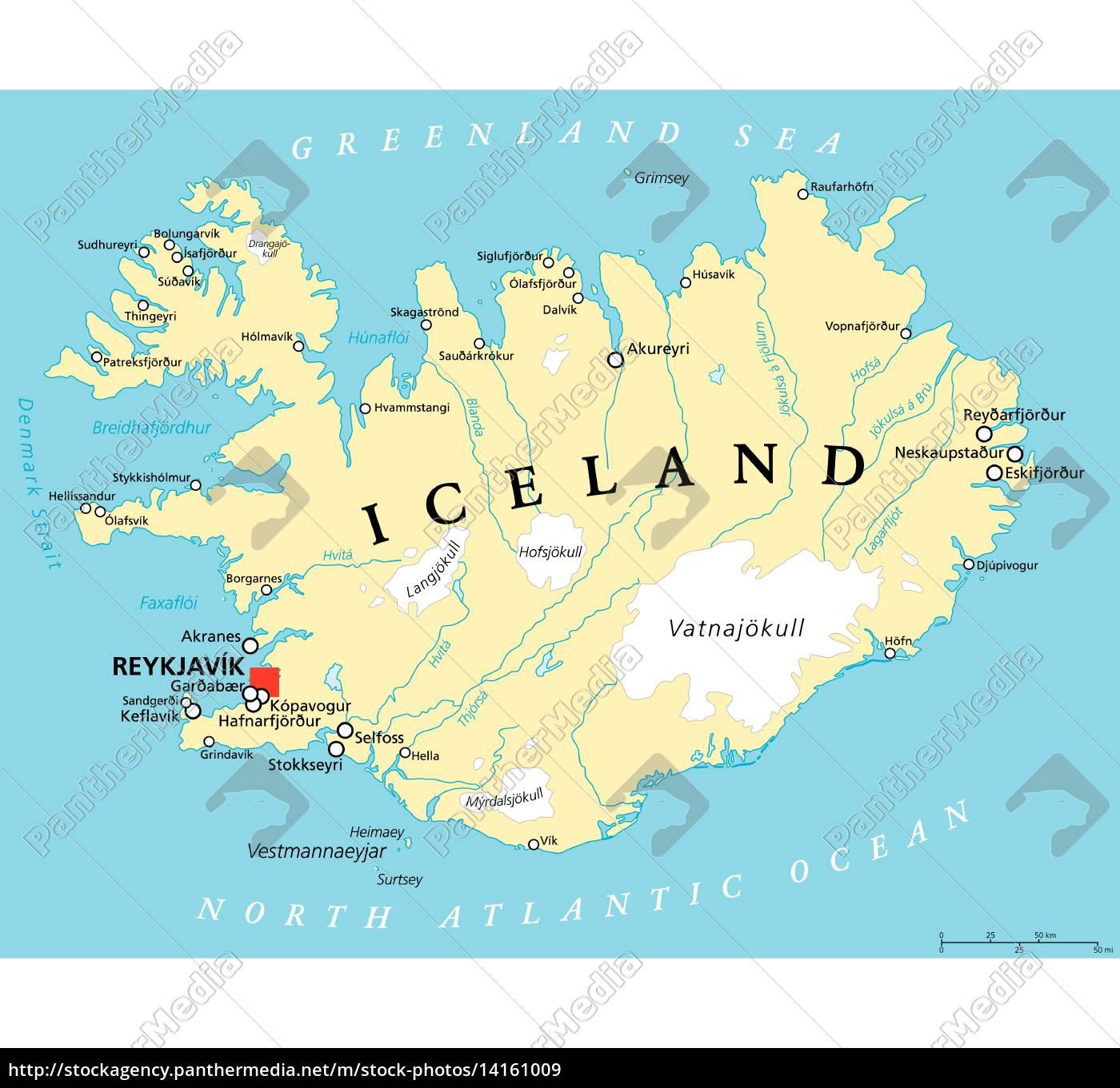 politische karte von island lizenzfreies bild. Black Bedroom Furniture Sets. Home Design Ideas