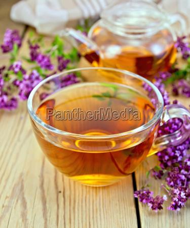 tea of oregano in glass cup