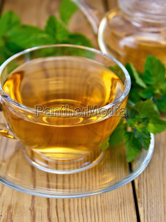 tea with mint in cup and