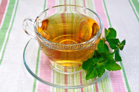 tea with mint in cup on
