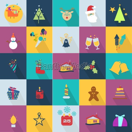christmas ikoner saet med objekter der