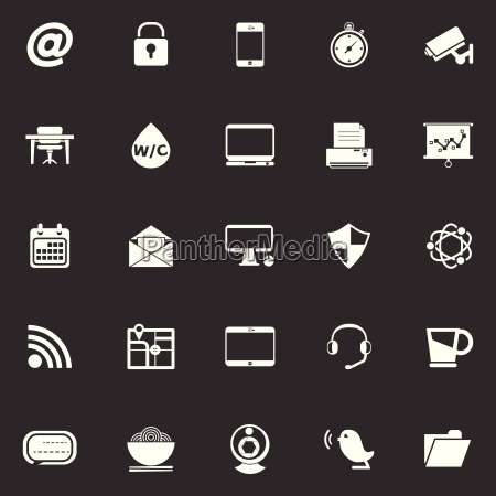 internet cafe icons on gray background