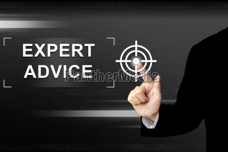 business hand expertenrat taste auf dem