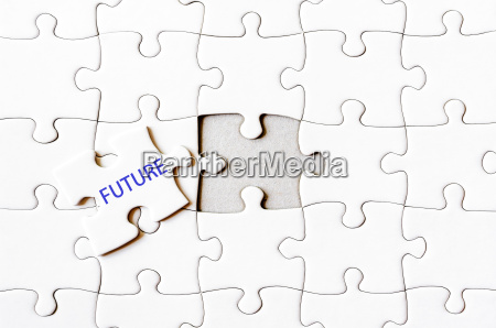 fehlende puzzle stueck mit wort zukunft