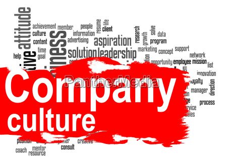 company culture word cloud with red