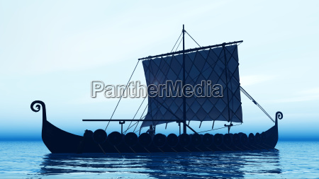 wikingerschiff im morgengrauen