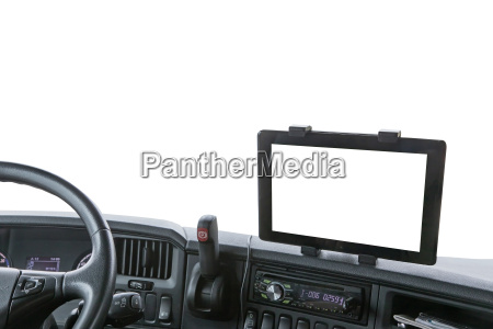 dashboard of the truck isolated on