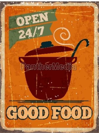 retro metal sign good food