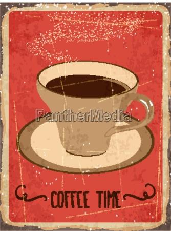 retro metal sign coffee time