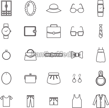 dressing line icons on white background