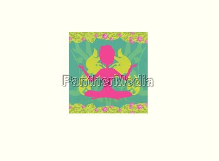 maedchen sitzt und meditiert abstrakte karte