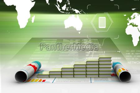 business grafik und buecher der registrierung