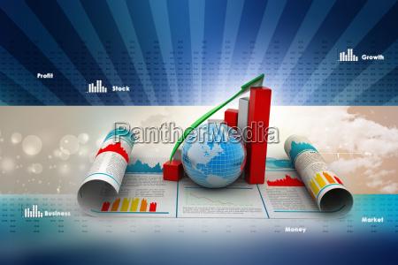 geschaeftswachstum grafik und globus