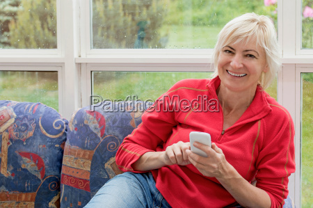 laughing middle aged woman with a