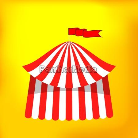 zirkuszelt symbol auf gelbem hintergrund