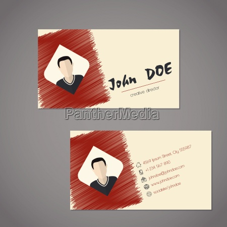 modern business card with scribbled elements